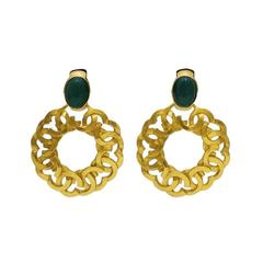 1990's Chanel Hoop Earrings with Green Stone