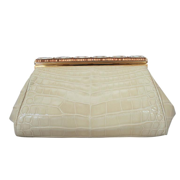 Judith Leiber Ivory Crocodile Clutch with Rhinestone and Gold Clasp For Sale