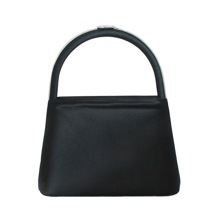 Judith Leiber Black Satin Top Handle Evening Bag 1