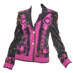 Gianni Versace Velvet Medusa Print Jacket