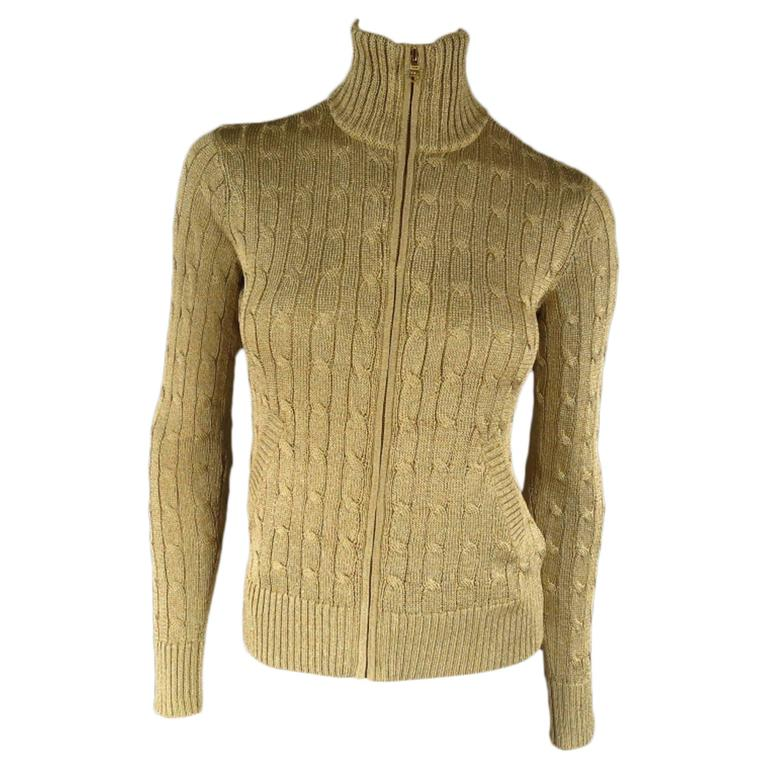 RALPH LAUREN BLACK LABEL Size S Gold Metallic Cable Knit Zip Mock Neck  Cardigan at 1stdibs c8134c9b5