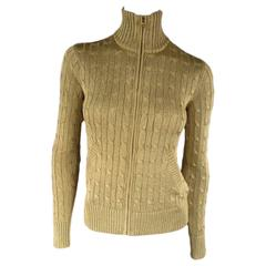 RALPH LAUREN BLACK LABEL Size S Gold Metallic Cable Knit Zip Mock Neck Cardigan