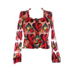Gianni Versace Spring 1990s Pink Heart Blouse Inspired by Jim Dine