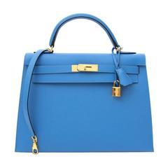 BN Hermes Kelly Sellier Veau Epsom 32cm Bleu Paradis