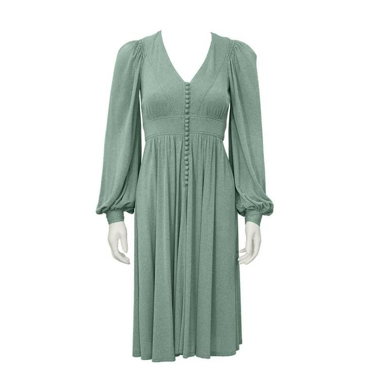 1970's Jean Muir Green Day Dress  For Sale