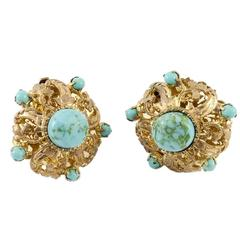 Chanel (by Maison Gripoix) Turquoise Poured Glass Clip-on Earrings - 1950s