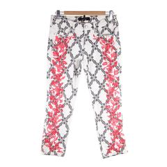 ISABEL MARANT Red Floral EMBROIDERY Cotton CROPPED Skinny JEANS Pants Sz 38