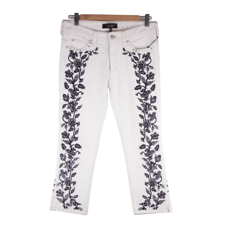 ISABEL MARANT White EMBROIDERED Cotton CROPPED Skinny JEANS Pants Sz 38 At 1stdibs