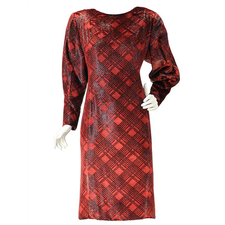 1980s Galanos Red Velvet Plaid Print Dress