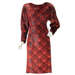 1980s Galanos Red velvet Plaid Print Dress