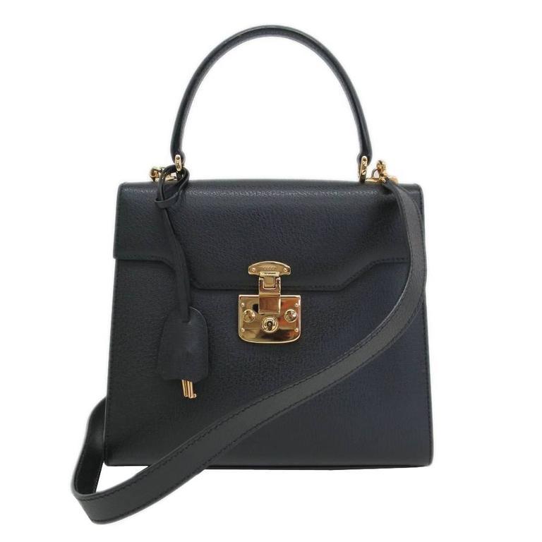 Gucci Black Leather Gold Hardware Box Kelly Satchel Shoulder Bag ...