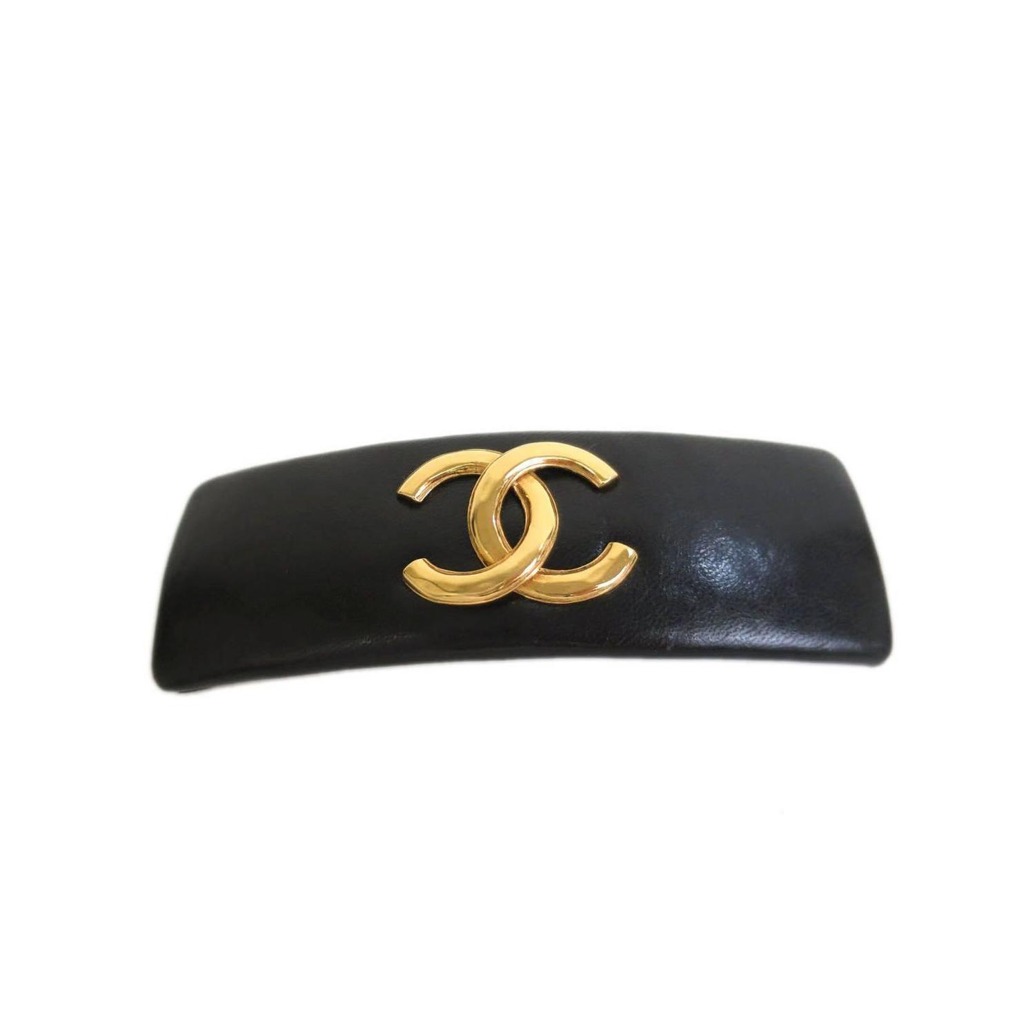 Chanel Black Lambskin Leather and Gold CC Hair Barrette at ...