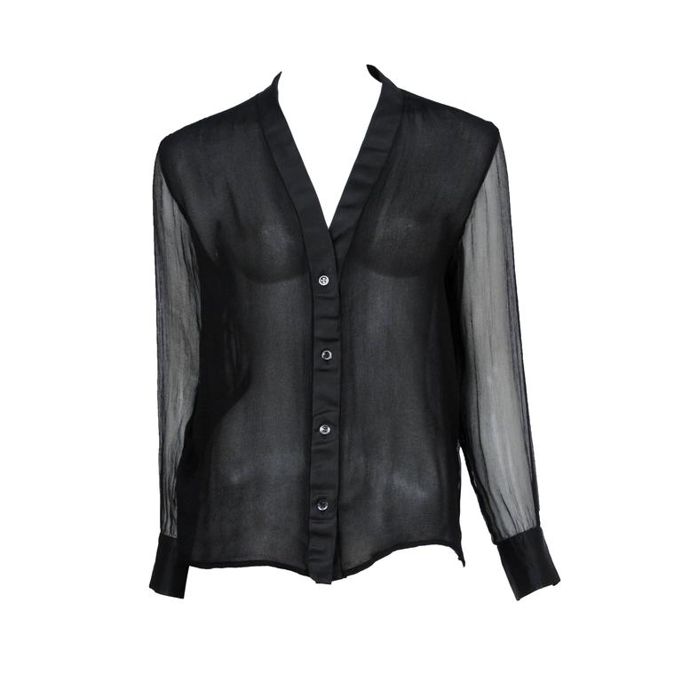 Yves Saint Laurent Black Chiffon Sleeve Top  1