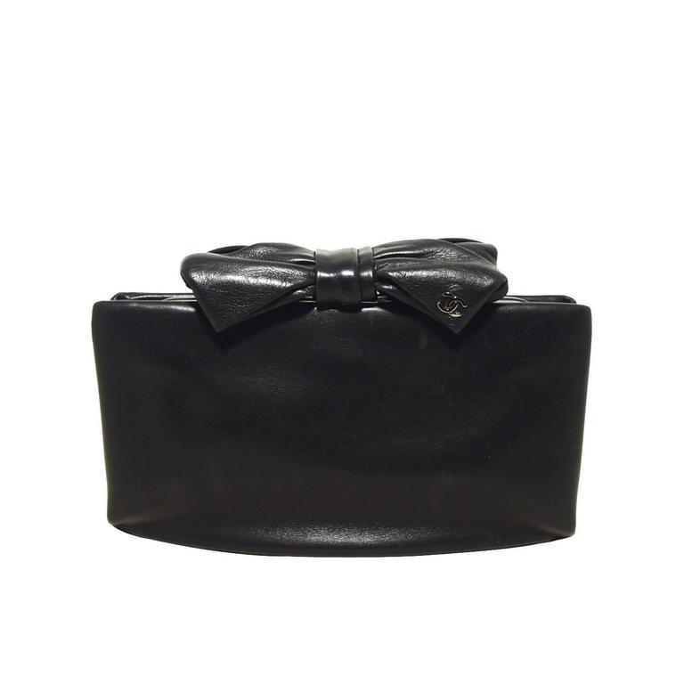 Chanel Black Lambskin Bow Top Clutch  1