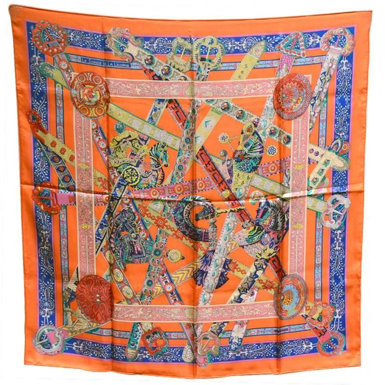 Hermes Le Songe de la Licorne Silk Scarf in Orange 1