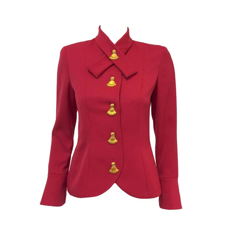 Valentino Fuschia Fitted Wool Jacket With Gold Tone Tassel Butttons 1
