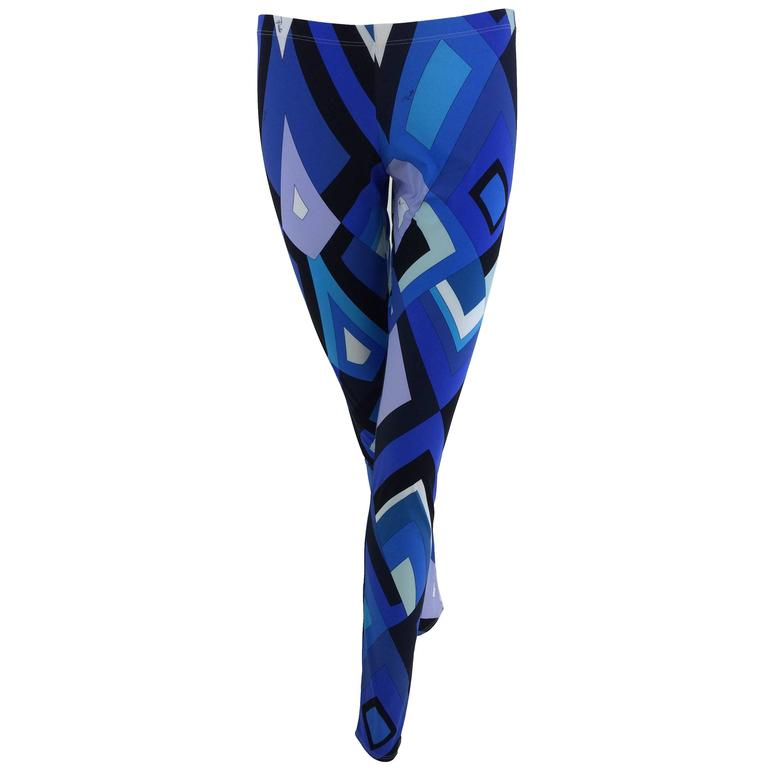 Pucci geometric leggings in shades of blue 1