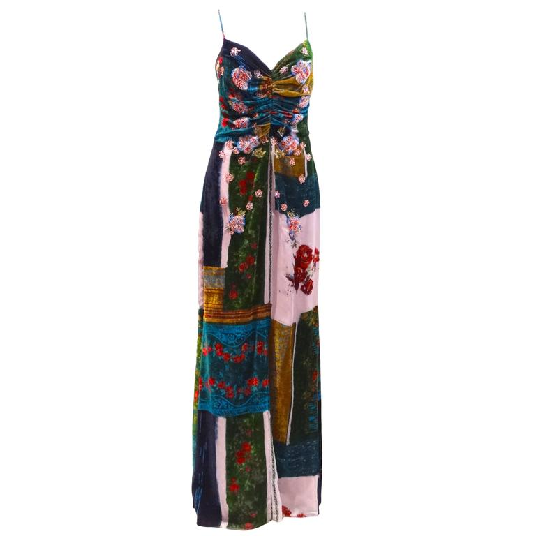 1990s Badgley Mischka Velvet Patchwork Gown