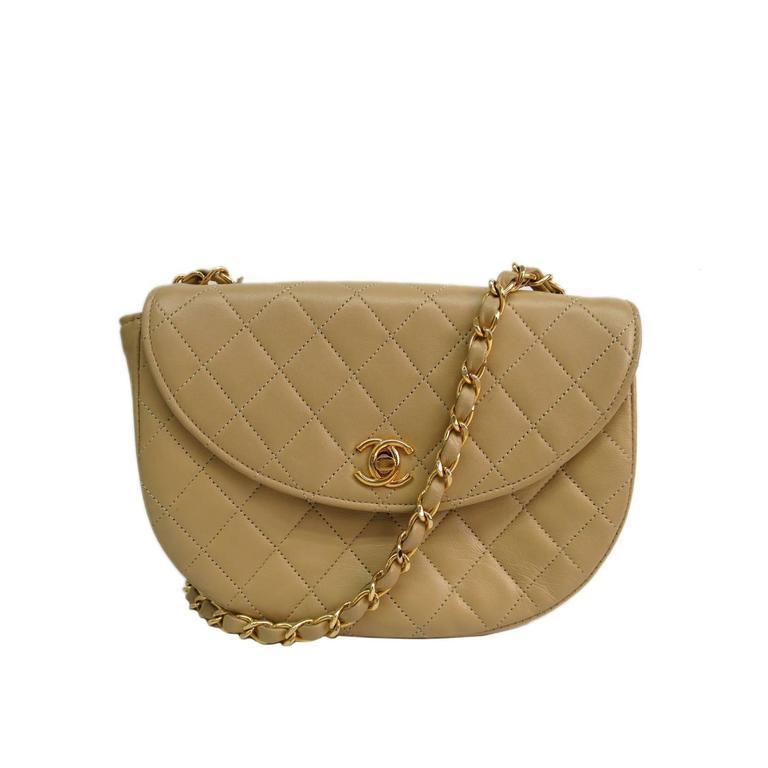 2988282326d1 Chanel Nude Beige Calfskin Leather Flap Crossbody Shoulder Bag For Sale
