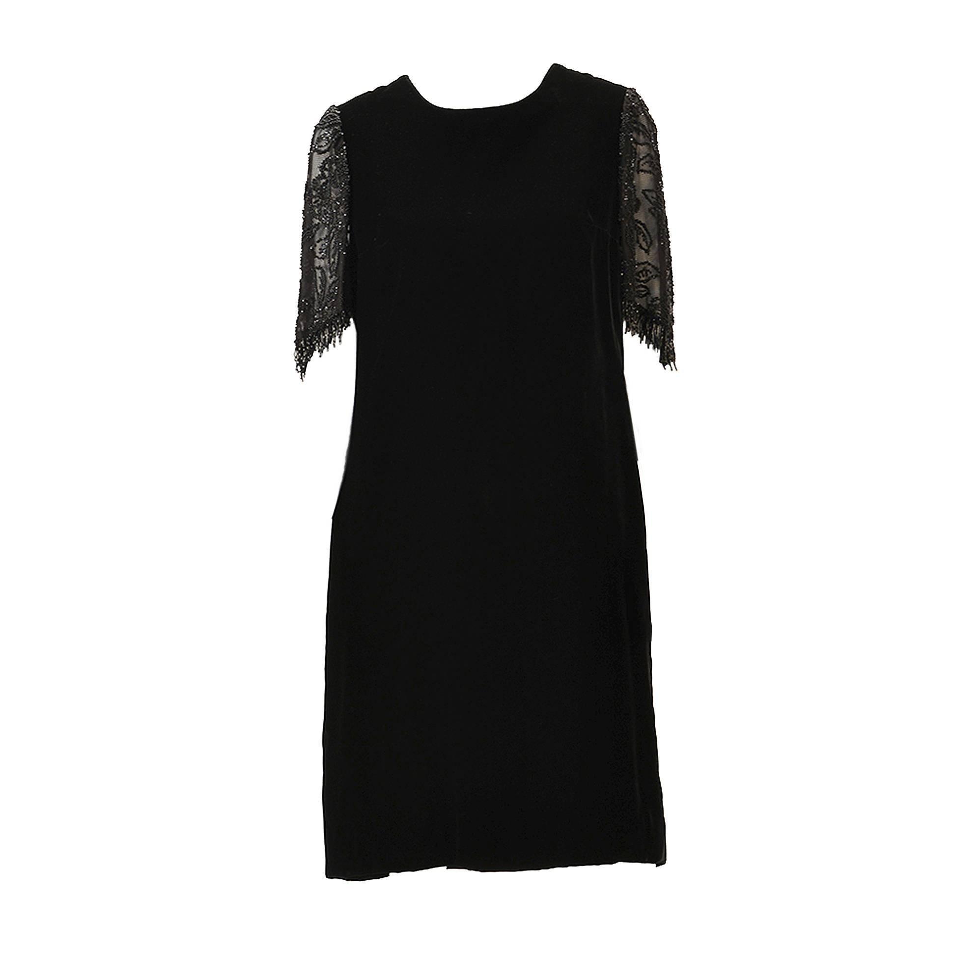 1980s Custom Black Sheer Back Beaded Velvet Flapper Dress