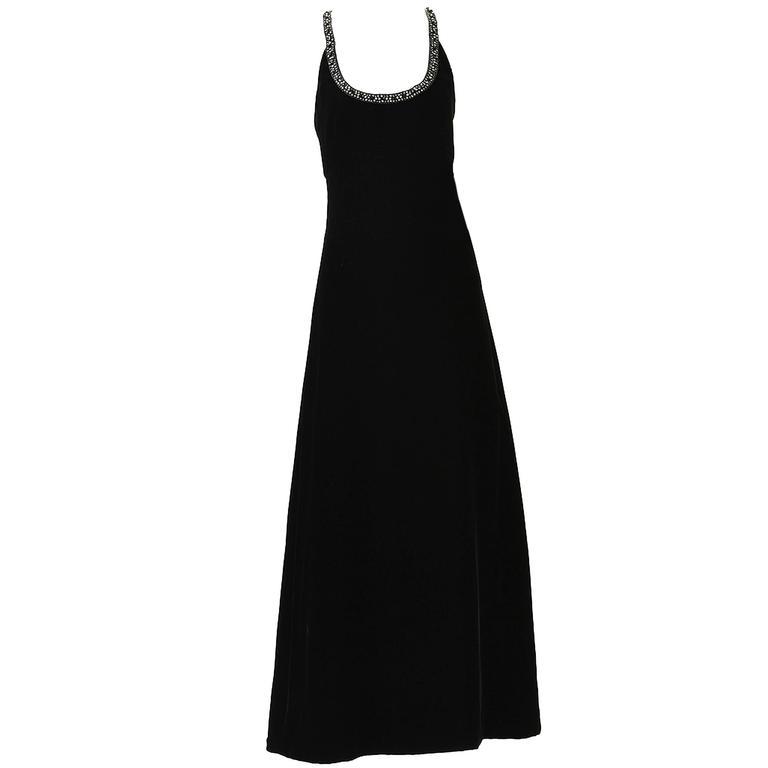 1960s Black Velvet and Rhinestone Halter Dress