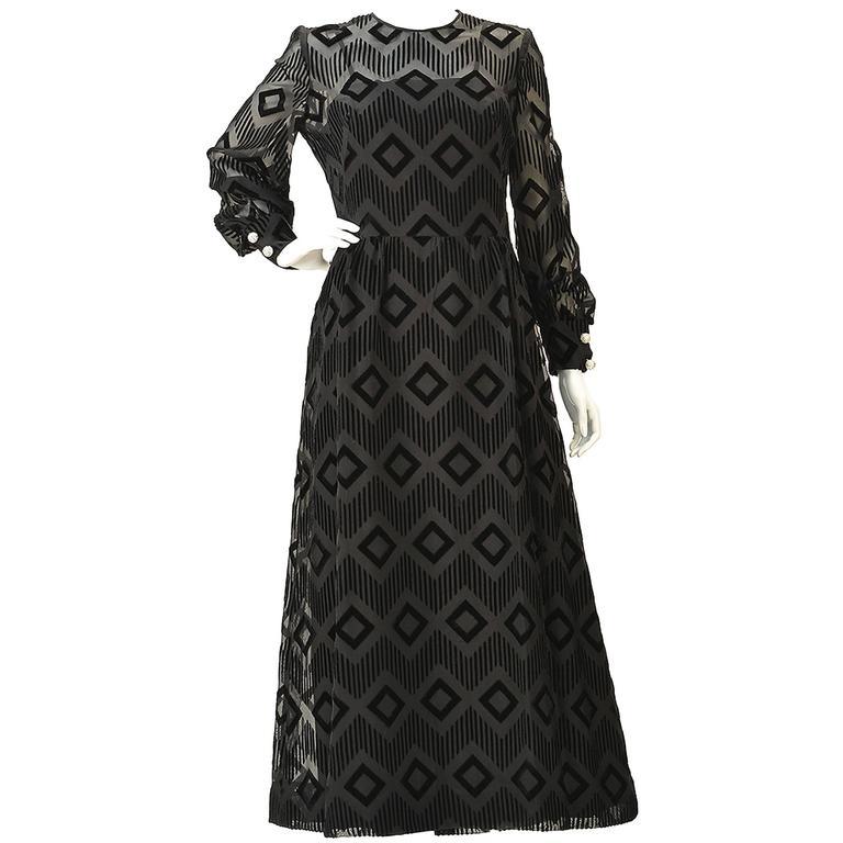 Pierre Balmain Black Silk Burnout Dress, 1970s