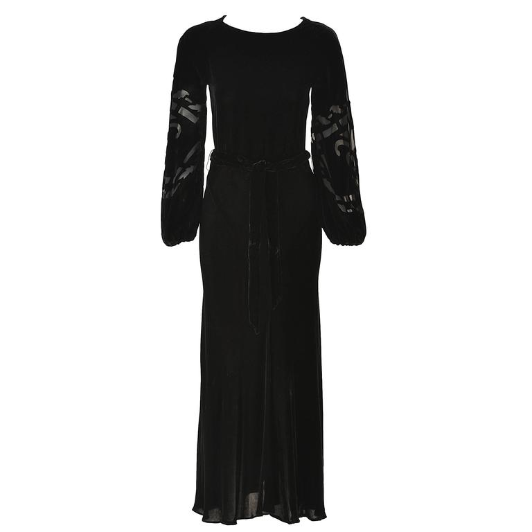 1960s Larry Aldrich Black Velvet Dress with Silk Burnout Sleeves