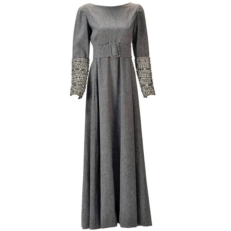 Malcolm Starr Grey Formal Maxi Dress with Embellished Sleeves, 1960s  For Sale