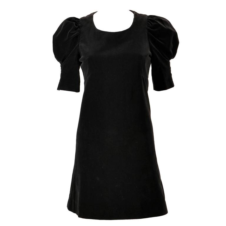 1960s Biba Black Velvet Formal Mini Dress