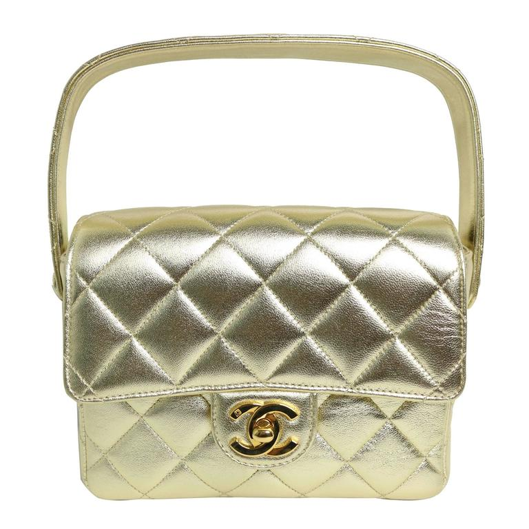 Chanel Gold Metallic Lambskin Quilted Mini Flap Handbag   For Sale