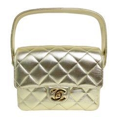 Chanel Gold Metallic Lambskin Quilted Mini Flap Handbag