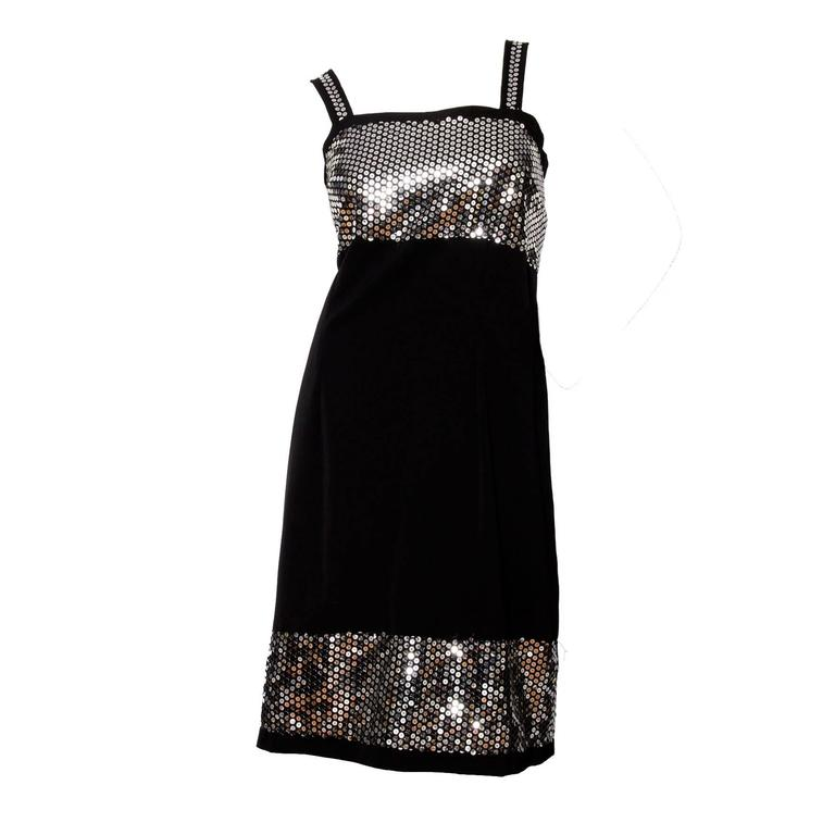 1990s Dolce & Gabanna Black Wool & Silver Sequin Dress For Sale