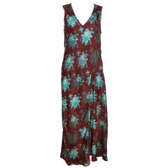 90s Dries Van Noten Burgundy Floral Print Maxi Dress