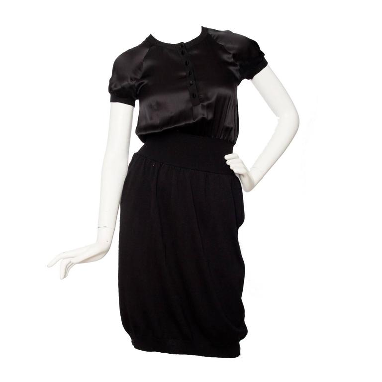 Yves Saint Laurent '08 Wool & Silk Satin Dress
