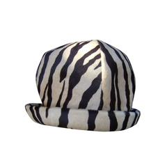 Saks Fifth Avenue Exotic Zebra Pony Hair Hat c 1970