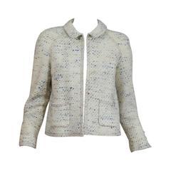 Chanel Cream Tweed Jacket With Multi-Colored Flecks