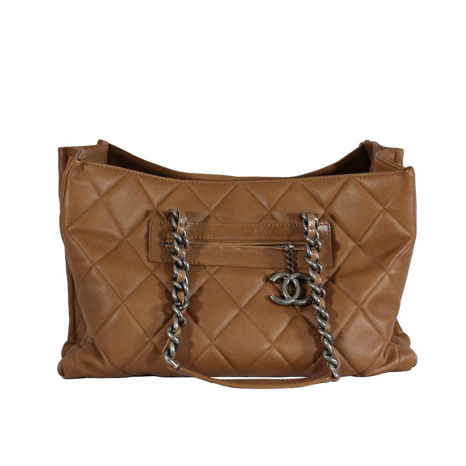 Chanel Light Brown Large Quilted Tote at 1stdibs