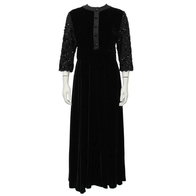 1980's Scherrer Black Velvet Dress with Beaded Sleeves