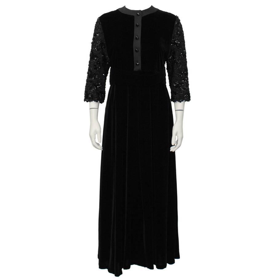 1980's Scherrer Black Velvet Dress with Beaded Sleeves
