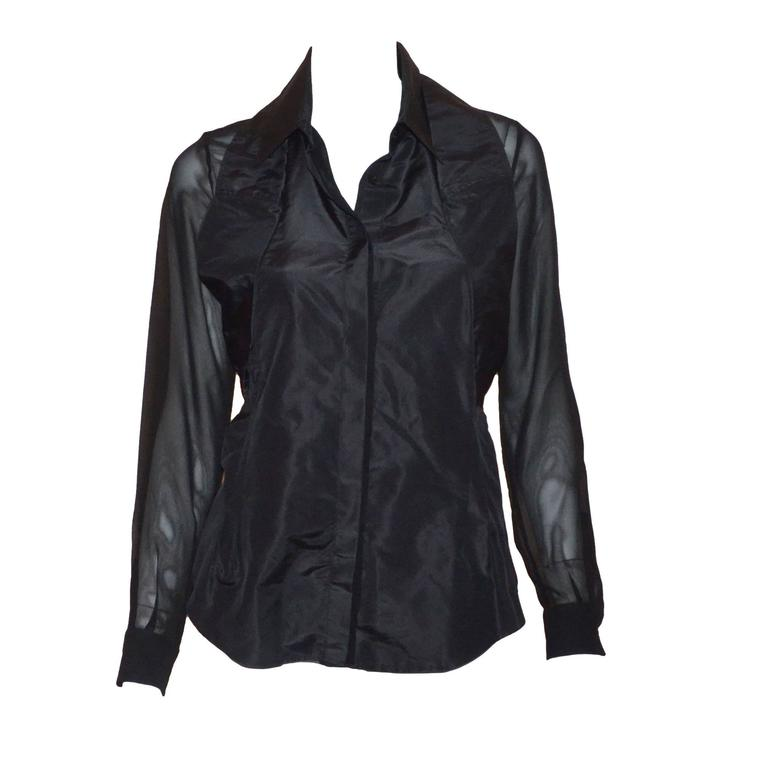 Moschino Silk Chiffon Blouse with Sleeves That Tie at the Waist