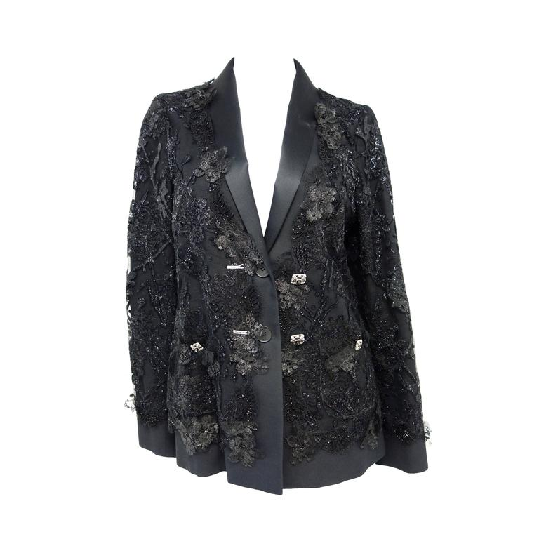Chanel 11A Black Lesage Lace Runway Jacket Size 40