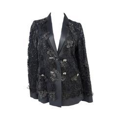 Chanel 11A Black Lesage Lace Runway Jacket Size 40