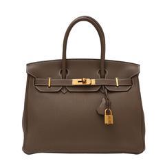 Hermes  Birkin Etoupe Clemence 30cm Bag Gold Hardware