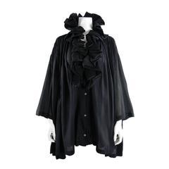 Romeo Gigli 1990 Black Pleated Ruffle Evening Jacket