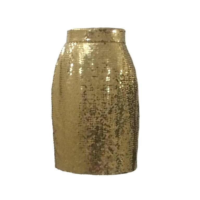 Moschino Couture! 90s Gold Sequin Pencil Skirt For Sale
