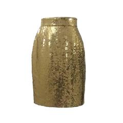 Moschino Couture! 90s Gold Sequin Pencil Skirt