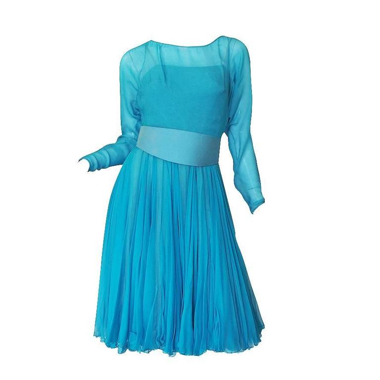 1960s Stunning Blue Silk Chiffon James Galanos Dress 1