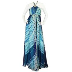 "Book Piece c1974 Thea Porter Couture Hand Painted ""Wave"" Dress"