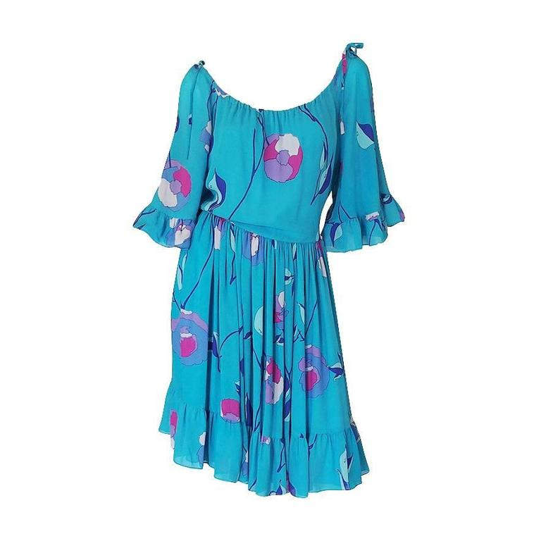 1970s Off Shoulder Turquoise Silk Chiffon Emilio Pucci Dress