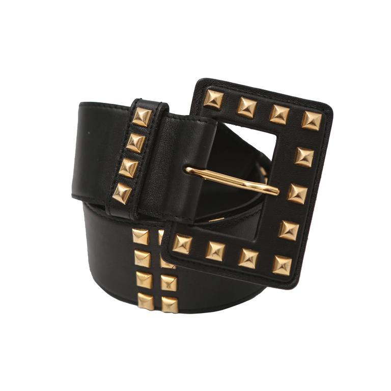 Saint Laurent Black Leather Belt with Gold Studs
